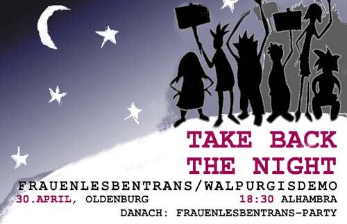 take back the night regentied oldenburg von unten. Black Bedroom Furniture Sets. Home Design Ideas